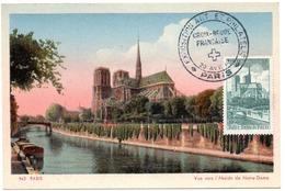 PARIS 1947 = CARTE MAXIMUM  + N° 776 CATHEDRALE NOTRE-DAME + ART ET PHILATELIE + CROIX ROUGE / CP CAP N° 943 - Cartes-Maximum