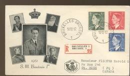 909/911   Roi Baudouin Sur FDC Illustré Et Circulé - 1951-60
