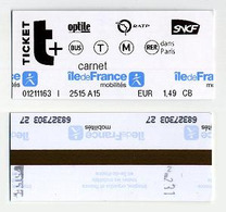 Ticket De Métro Paris France 2019. Metro Subway Undeground Tube S-Bahn. Bus Tram RER Métro... RATP Optile SNCF - Metropolitana