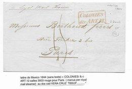 1844 - MARITIME - LETTRE De MEXICO Par ROYAL MAIL STEAMER ENTREE COLONIES / & C ART.12 -CACHET VERA CRUZ AU DOS => PARIS - Mexiko
