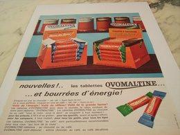 ANCIENNE PUBLICITE TABLETTE A CROQUER CHOCOLAT OVOMALTINE  1964 - Autres Collections
