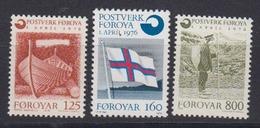 Faroe Islands 1976 Gründung Färoischen Postwesen 3v ** Mnh (44451A) - Faeroër