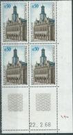 Timbre France 1966 Neuf ** Yvt 1499 Bloc De 4 Coin Daté 1968 - France