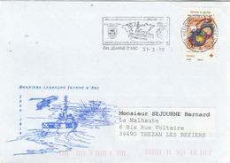 Dernière Campagne 2009/2010 JEANNE D'ARC Cachet Flamme PH Jeanne D'Arc 31/3/2010 - Hélicoptère - Postmark Collection (Covers)