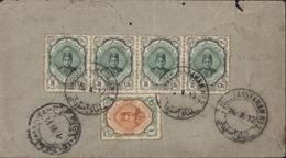 Postes Persanes Iran YT 304 X4 + 302 CAD Ambulant Joulfa Isfahan N°2  26 X 12 Pour Grand Bretagne Julfa Isfahan - Iran