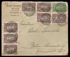 S7660 - DR Infla Firmen Briefumschlag: Gebraucht Militsch Breslau - Berlin 1923 , Bedarfserhaltung, Versand Im Großbri - Germany