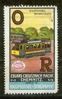 S7677 - DR Werbe Vignette Reklamemarke Chemnitz, Locomotive Strümpfe, Elektrische Straßenbahn 1914: Ungebraucht Ohne G - Erinnophilie