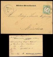 S7901 - DR Brustschild Bücher Bestellzettel: Gebraucht Berlin PA 8 - München 1874, Bedarfserhaltung , Leicht Gefaltet - Briefe U. Dokumente