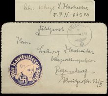 S7939 - DR Feldpost Briefumschlag Mit Vignette , Soldat Mit Stahlhelm , Hakenkreuz , Wir Kapitulieren Nicht: Gebraucht - Germany