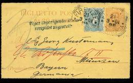 S7974 - Italien GS Kartenbrief Vorderseite Mit Postvermerk: Gebraucht Florenz - München 1901 , Bedarfserhaltung. - 1900-44 Victor Emmanuel III.