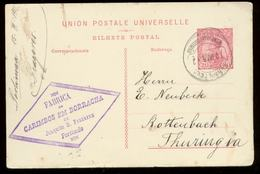 S7978 - Portugal GS Postkarte: Gebraucht Portimao - Rottenbach 1912 , Bedarfserhaltung. - Postal Stationery