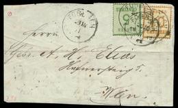 S8152 - Elsaß Lothringen Nr. 4I + 5I Auf Briefvorderseite: Gebraucht Forbach - Wien 1871, Bedarfserhaltung. - North German Conf.