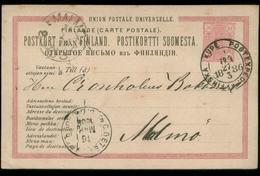 S8247 Finnland GS Postkarte : Gebraucht Kupe - Malmö 1886 , Bedarfserhaltung. - Finland