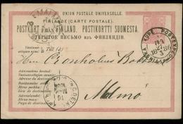 S8247 Finnland GS Postkarte : Gebraucht Kupe - Malmö 1886 , Bedarfserhaltung. - Finlande