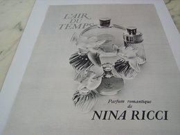 ANCIENNE PUBLICITE PARFUM  L AIR DU TEMPS DE NINA RICCI  1964 - Perfume & Beauty