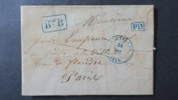 """Belgique  Lettre De Bruxelles 1846 Pour Paris Griffe Encadrée """" Bureau B """" Et PD En Bleu - 1830-1849 (Belgique Indépendante)"""