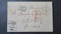 """Belgique  Lettre De Bruxelles 1851 Pour Paris Griffe Encadrée """" Apres Le Départ """" - 1849-1865 Medallions (Other)"""