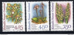 GREENLAND 1996 Arctic Orchids II Fluorescent Paper MNH / **.  Michel 284y-86y - Groenlandia