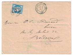 1876 - LETTRE AFFRANCHIE CERES N° 60 OBLITERATION CAD AMBULANT DE JOUR CETTE À BORDEAUX + CAD GARE DE CARCASSONNE - 1849-1876: Période Classique