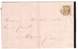 1864 - LETTRE DE DEUIL AFFRANCHIE NAPOLEON N° 21 10c SEUL OBLITERATION CAD De CARCASSONNE Pour ALZONNE AUDE - Marcophilie (Lettres)