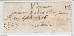 """.EURE : """" DAMVILLE """" CàD Type 12 + TT 4 + Id Rge / LAC De 1838 > Paris TB - Marcophilie (Lettres)"""