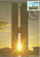 Carte Maximum - Brasil - Brasilia - Edificio Congresso Nacional - Selo Adesivo - Tarjetas – Máxima