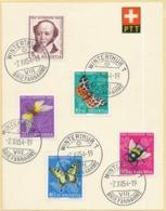 153-157 / 602-606 Satz Auf PTT Blatt Gestempelt Winterthur 1 - 02.12.1954 - 2. Gültigkeitstag - Pro Juventute