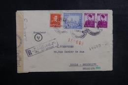 ROUMANIE - Enveloppe En Recommandé De Pitesti Pour La Belgique En 1942 + Contrôle, Affranchissement Plaisant - L 41765 - 2. Weltkrieg (Briefe)