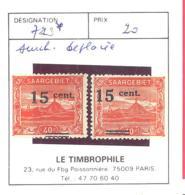 SAAR  Michel #  73  *  2 X Verschobene Aufdruck - Ungebraucht
