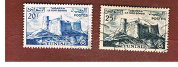 TUNISIA - SG 417.418  -    1956 GENOESE FORT, TABARKA             - USED ° - Tunisia (1956-...)