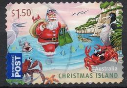 2011 CHRISTMAS ISLAND $1,50 Fine Used Booklet Self-adhesive Stamp, Seagulls, Santa Claus, Crabs, Fish, Pelican - Christmas Island