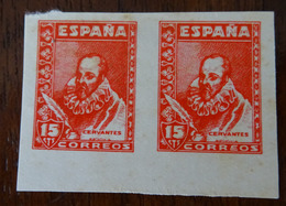 &44& SPAIN, ESPAÑA PRUEBA LAIZ 82 PB MH* CERVANTES EN PAREJA, ALGUNA SOMBRA. SOME TONED SPOTS, SEE PICTURES. - Prove & Ristampe