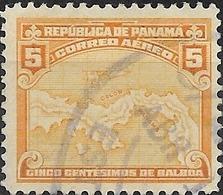 PANAMA 1930 Air, Map Of Panama - 5c - Orange FU - Panama