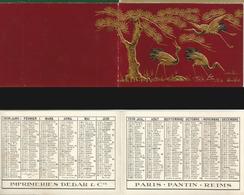 CALENDRIER DE POCHE Ancien Année 1938 Imp Debar Reims. Décors Relief Héron Japon - Calendari
