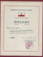 280819 - MILITARIA GUERRE 1939 45 - DIPLOME 1940 1944 Résistance Polonaise En France Colonel Daniel ZDROJEWSKI - France