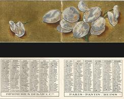 CALENDRIER DE POCHE Ancien Année 1951. Imp. Debar Reims. Décors Relief Nénuphars - Calendriers