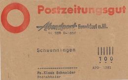 Postzeitungsgut Abendpost Frankfurt Main Nach Schwenningen - APO 1281 - Deutschland