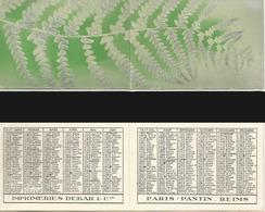 CALENDRIER DE POCHE Ancien. Année 1947. Imp. Debar Reims. Décors Fougères - Calendriers