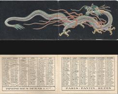 CALENDRIER DE POCHE Ancien. Année 1949. Imp. Debar Reims. Décors Dragon Chine - Calendriers