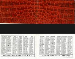 CALENDRIER DE POCHE Ancien. Année 1950. Imp. Debar. Décors Relief Peau Serpent - Calendriers