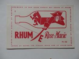 Buvard Rhum Rose-Marie (Le Bon Rhum Créole Qui Coupe). Signé RU. - Papel Secante