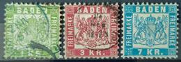 BADEN 1868 - MLH/canceled - Mi 23, 24, 25 - 1k 3k 7k - Baden