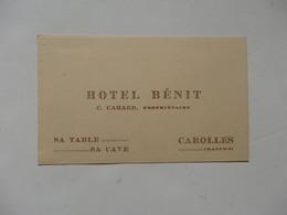 Carte De Visite Hôtel Bénit C. Cahard, Propriétaire à Carolles (50). - Tarjetas De Visita