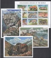X689 BHUTAN FAUNA WILD ANIMALS ENDANGERED SPECIES OF THE WORLD !!! 3BL+1KB MNH - Timbres