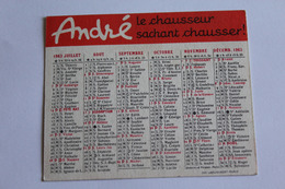 Calendrier Petit Format 1963 ANDRE LE CHAUSSEUR SACHANT CHAUSSER - Petit Format : 1961-70