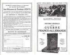 Bulletin  Souscription Pour Achat Livre Histoire Générale De La Guerre Franco-Allemande 1870-1871 . (Lt- ColoneLRousset. - Historical Documents