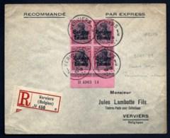 LETTRE OCCUPATION ALLEMANDE RECOMMANDÉE DE VERVIERS- BLOC 4 TIMBRES ALLEMANDS N°75 SURCHARGÉS- 1918 - Army: German