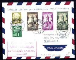 LETTRE PREMIERE LIAISON PAR HELICOPTHERE SABENA PARIS BRUXELLES- TIMBRES SAAR  CAD SAARBRUCKEN 1957- 2 SCANS - Airmail