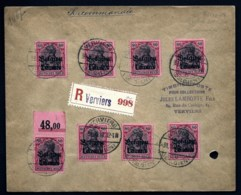 LETTRE OCCUPATION ALLEMANDE RECOMMANDÉE DE VERVIERS- 8 TIMBRES ALLEMAND N°75 SURCHARGÉS- 1918-  2 SCANS - Weltkrieg 1914-18