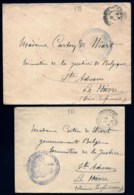 LOT 2 LETTRE F.M. SANS TIMBRE- TAMPON MILITAIRE  + CAD DE BOURGNEUF-VAL-D'OR POUR MINISTRE DE LA JUSTICE BELGE- - Militärpostmarken